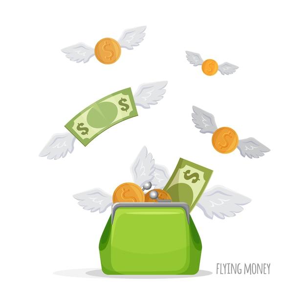 Full of money symbolic green purse. Premium Vector