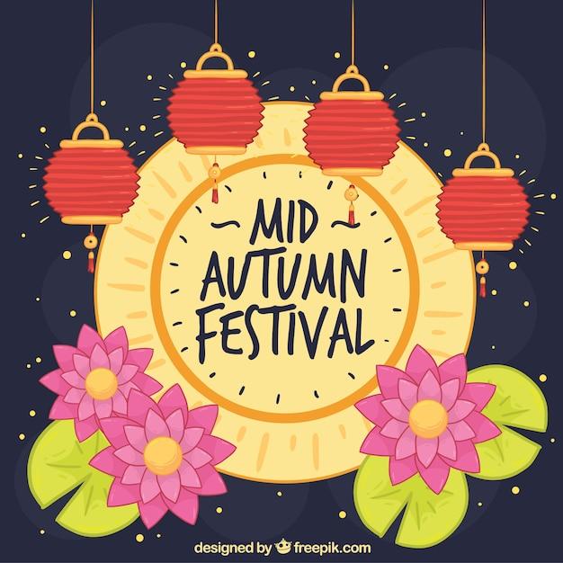 Full moon and lanterns, mid autumn festival