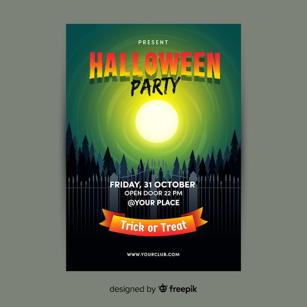 Full moon above forest flat halloween flyer Free Vector