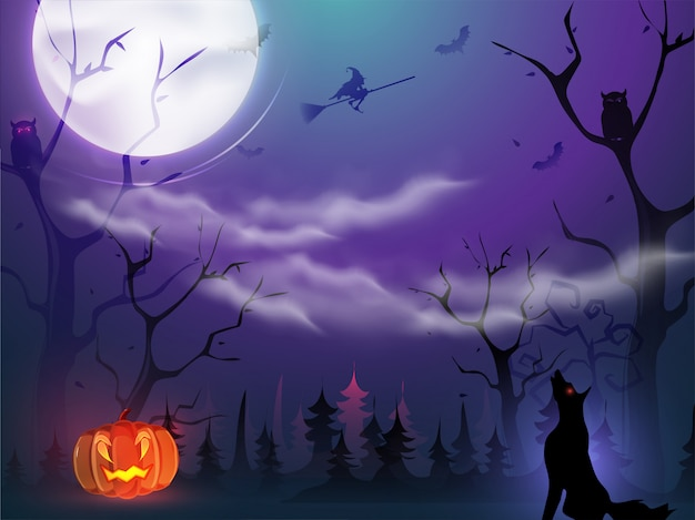 Full moon forest view  with spooky jack-o-lantern, witch flying broom, owls, bats and yelling wolf for halloween night. Premium Vector