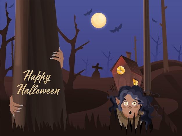 お化け屋敷とハッピーハロウィンの機会に漫画の魔女や幽霊女と墓地の満月の背景。 Premiumベクター