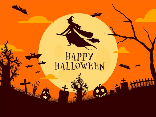 해피 할로윈 축하를위한 빗자루, 박쥐, 해골 손과 짜증 호박에 마녀 비행과 보름달 묘지 배경. 프리미엄 벡터
