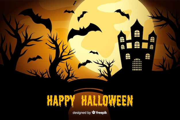 Full moon and haunted house background Free Vector