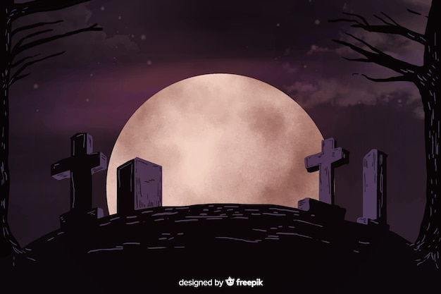 Full moon night in a cemetery hill background Free Vector