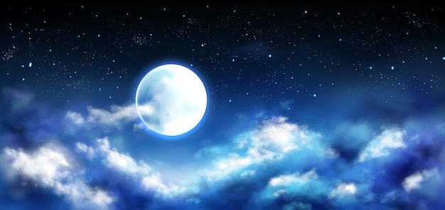 Full moon in night sky with stars and clouds scene Free Vector