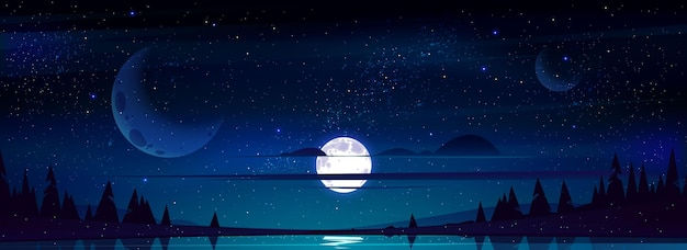 Full moon in night sky with stars and clouds above trees and pond reflecting starlight Free Vector