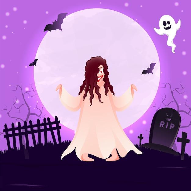 墓地ビューと満月紫の背景 Premiumベクター