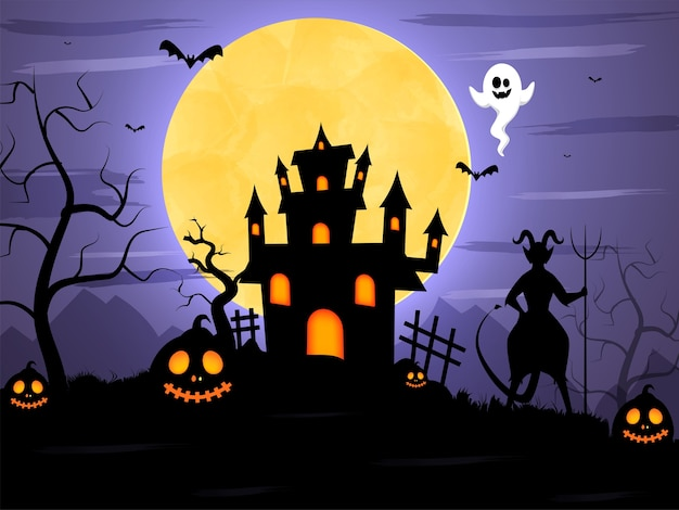 실루엣 악마, 박쥐 비행, 유령, 잭 오 랜턴 및 유령의 집과 보름달 무서운 숲 배경. 프리미엄 벡터