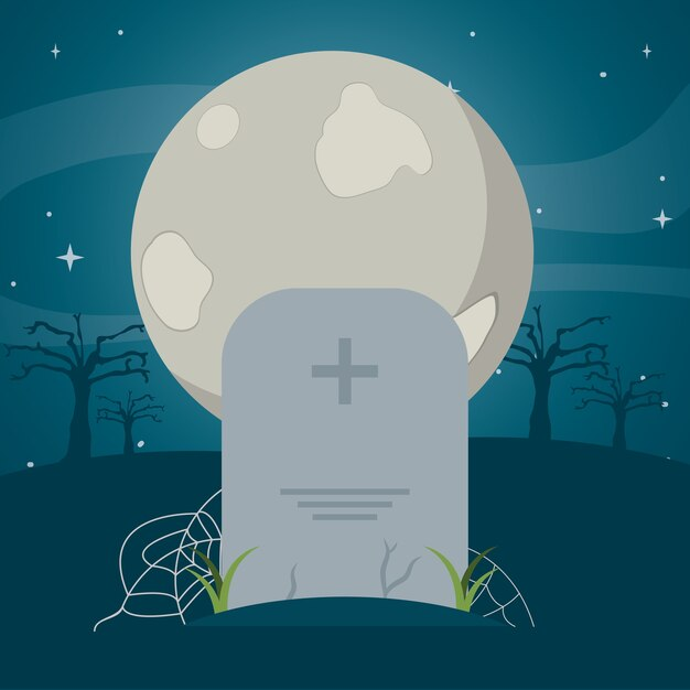 Full moon and stone tablet with spiderweb Premium Vector