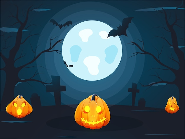 맨 손으로 나무, 비행 박쥐, 묘지 십자가와 할로윈 파티를위한 잭 오 랜턴 보름달 청록색 파란색 배경. 프리미엄 벡터