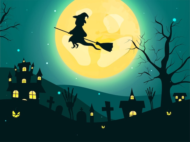 빗자루, 해골 손, 묘지, 맨 손으로 나무, 잭 오 랜턴 및 유령의 집에서 비행하는 마녀와 보름달 청록색 배경. 프리미엄 벡터