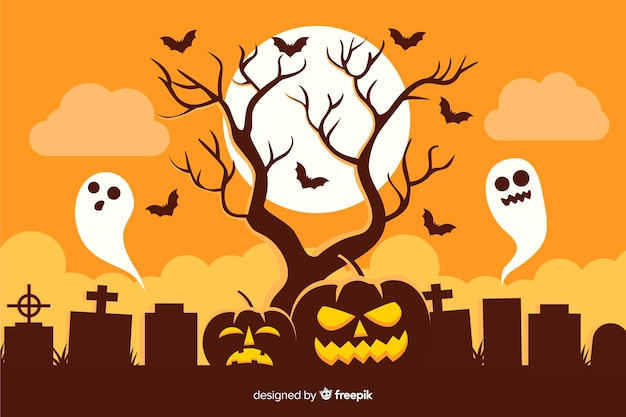 Full moon with pumpkin and ghosts background Free Vector