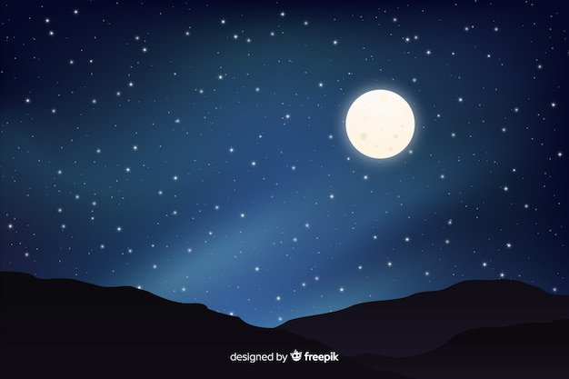 Full moon with starry night gradient sky Free Vector