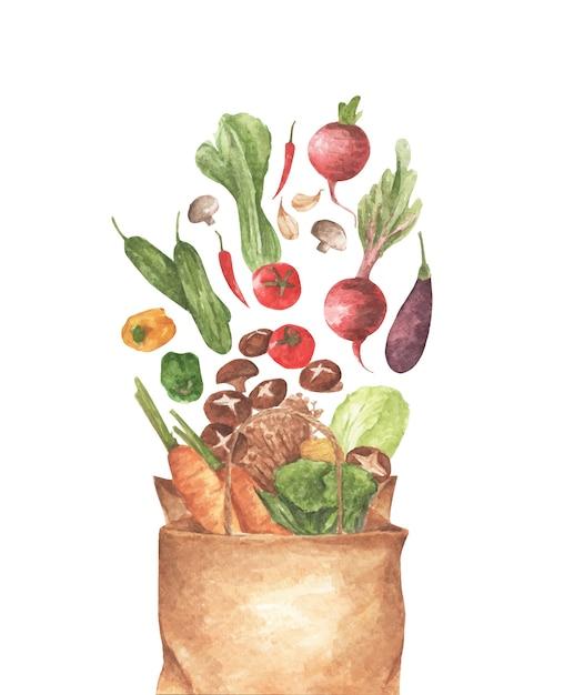 Полный бумажный пакет разных овощей. на белом фоне. вид сверху. лежал состав. акварельная иллюстрация. Premium векторы