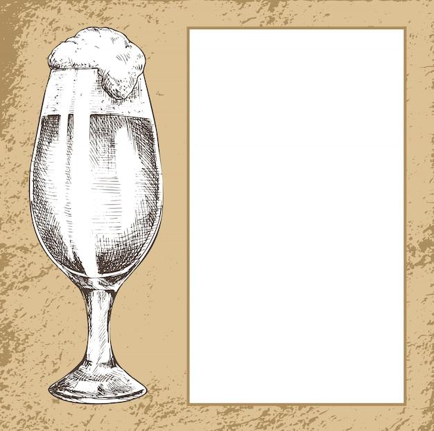 Full tulip beer glass with spilling foam poster Premium Vector