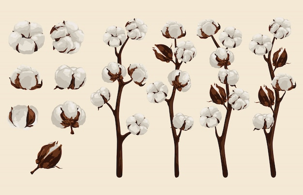Fully editable vector illustration of floral clip art sets. Premium Vector