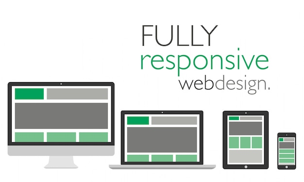 Fully responsive web design in devices Premium Vector