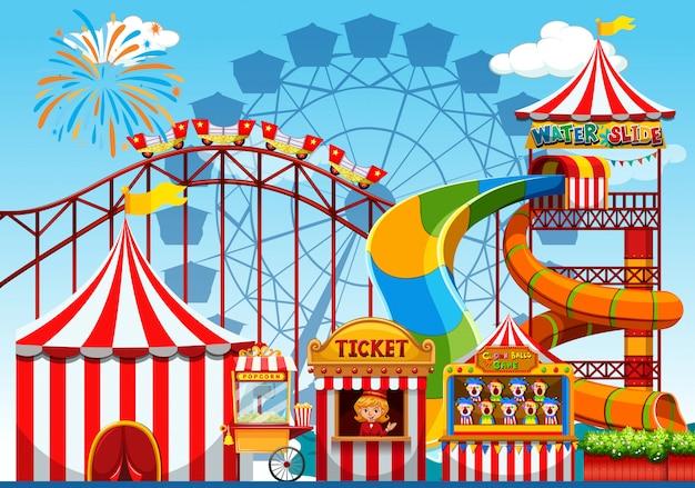 Fun amusement park illustration Free Vector