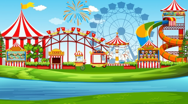 A fun amusement park scene Free Vector