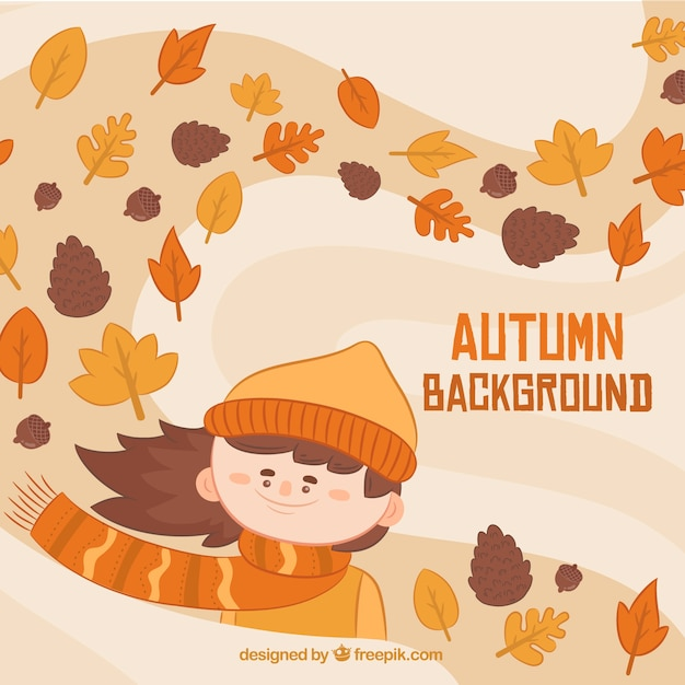 Fun autumn background with smiley girl