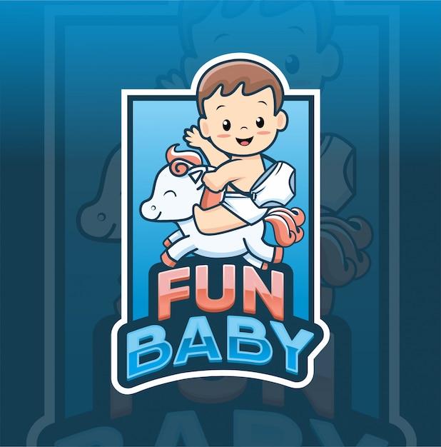 Fun baby with horse logo template Premium Vector