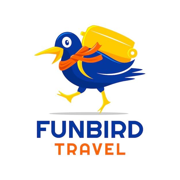 楽しい鳥が旅するロゴデザイン Premiumベクター