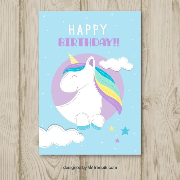 Fun Birthday Card With Happy Unicorn Vector Free Download