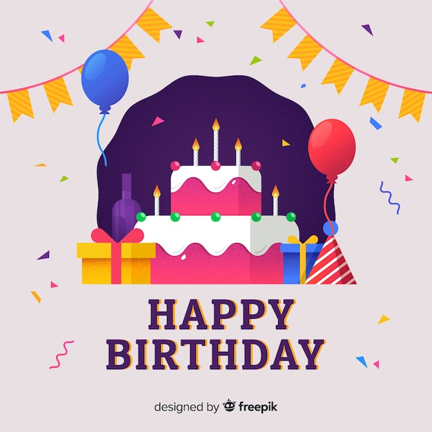 Fun birthday greeting card Free Vector