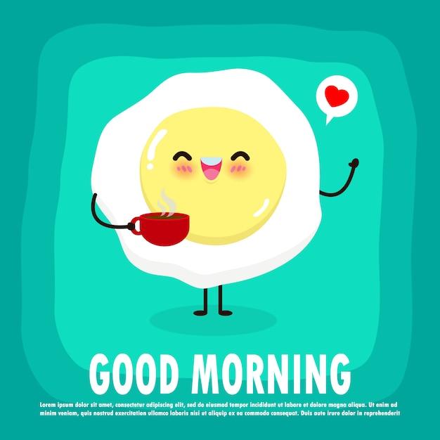 Веселый завтрак, доброе утро смешная еда, милые жареные яйца и чашка кофе, изолированных на фоне для карты, баннер, веб-дизайн иллюстрация Premium векторы