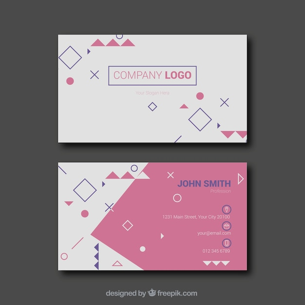 Fun business card with geometric figures vector free download fun business card with geometric figures free vector colourmoves