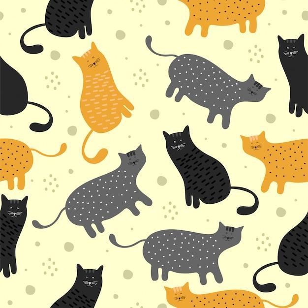 Fun cat seamless pattern Premium Vector