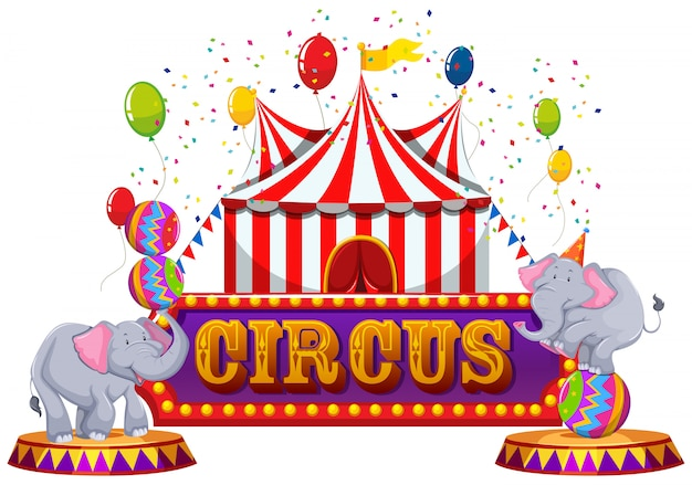 A fun circus anf happy animal Premium Vector