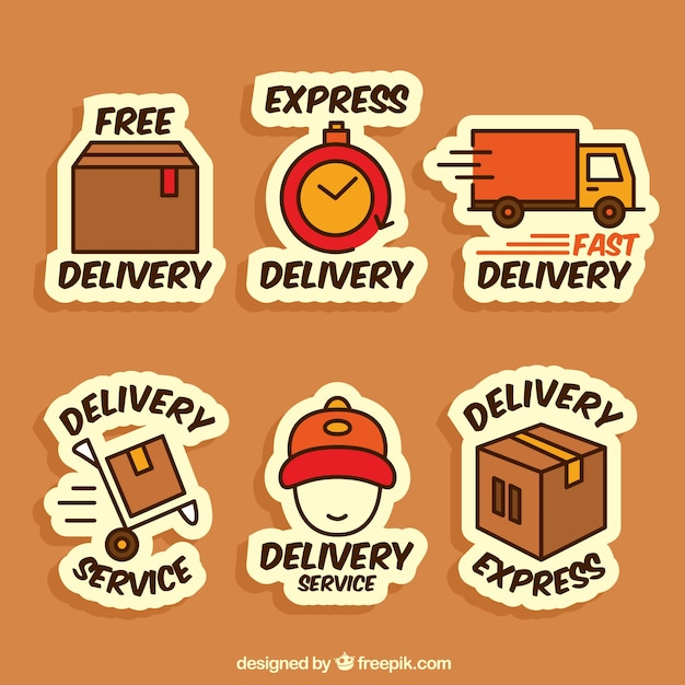 Fun collection of delivery labels Free Vector