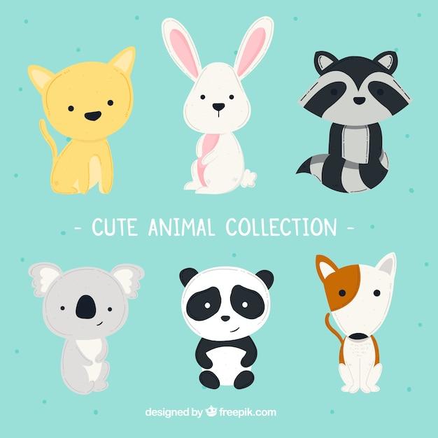 Забавная коллекция симпатичных животных Бесплатные векторы