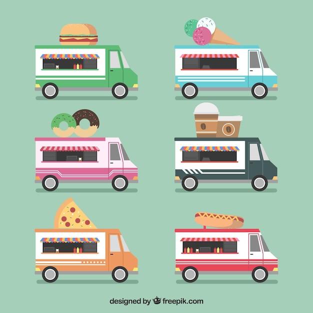 Fun collection of flat food trucks