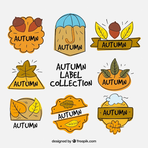 Fun collection of hand drawn autumnal labels