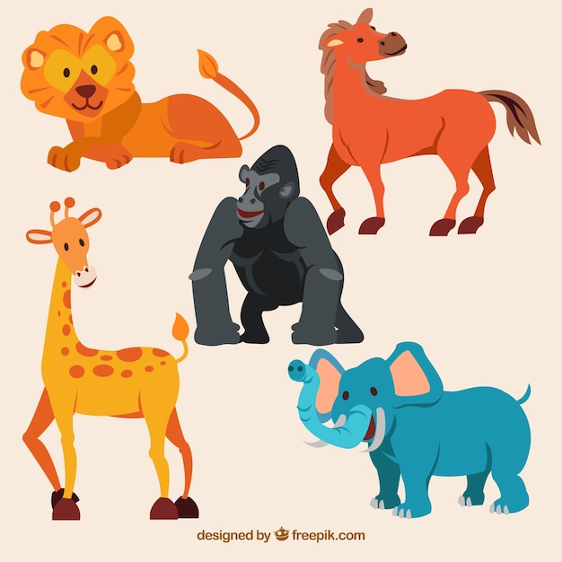 Fun collection of wild animals with flat desing Free Vector