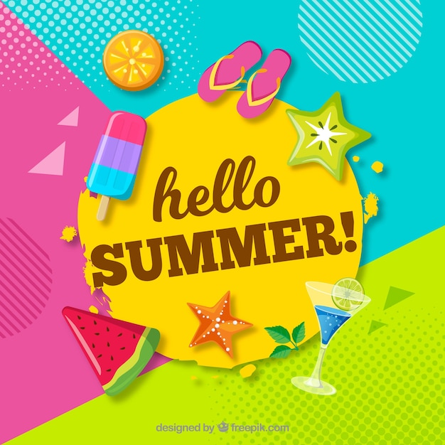 Fun and colorful summer background Free Vector