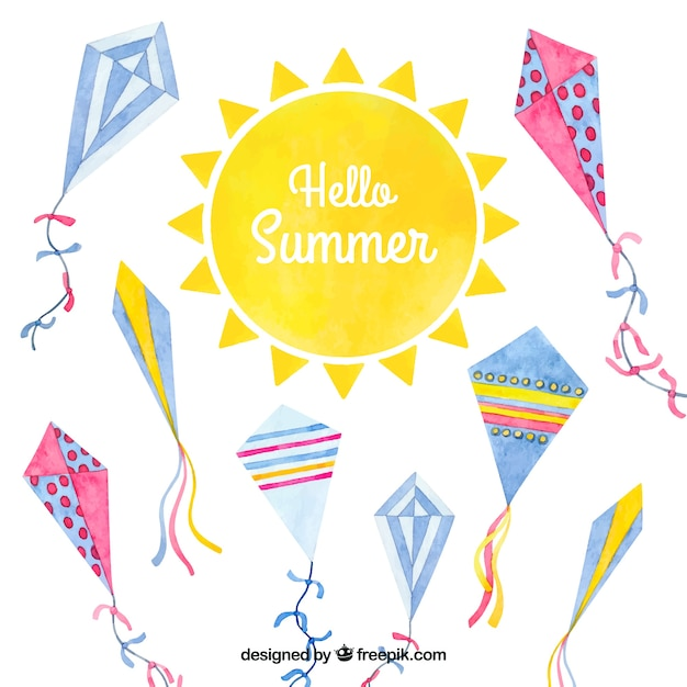 Fun and colorful summer watercolor background with comets Free Vector
