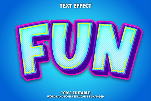 Fun colorful text effect Free Vector