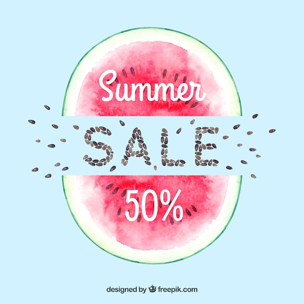 Fun and colorful watercolor summer sale background Free Vector