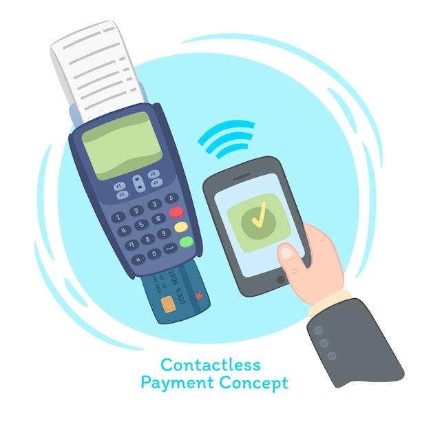 Composizione divertente di pagamento senza contatto Vettore gratuito