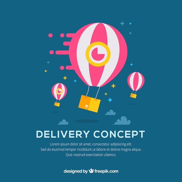 Fun delivery concept with balloons Vector | Free Download