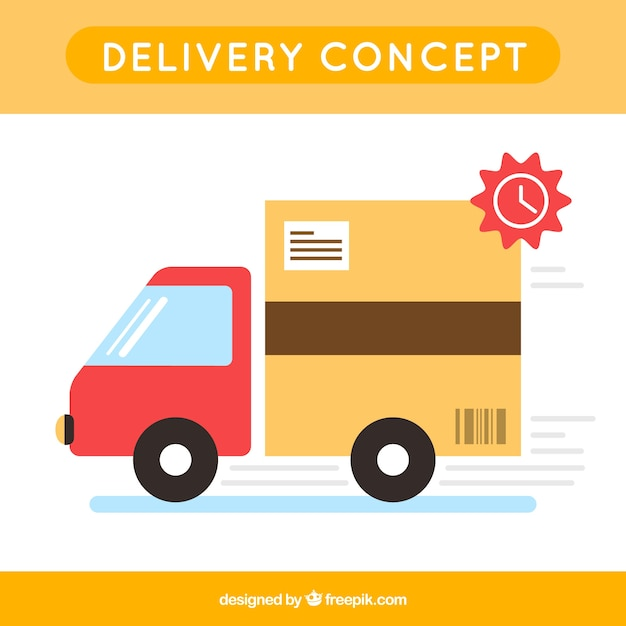 Fun delivery truck with flat design