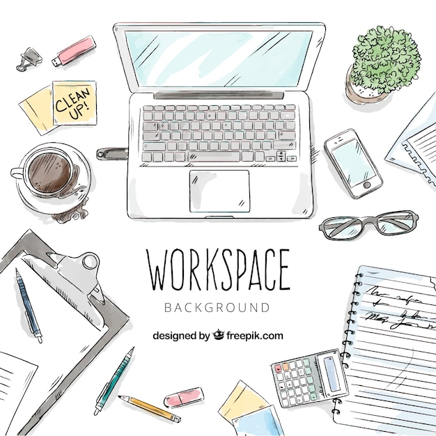 Fun desk with hand drawn style Free Vector