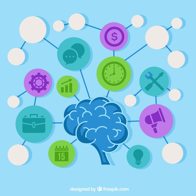 Fun Diagram With Brain And Icons Vector