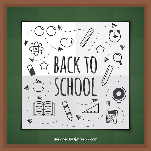 Fun drawings on the school blackboard