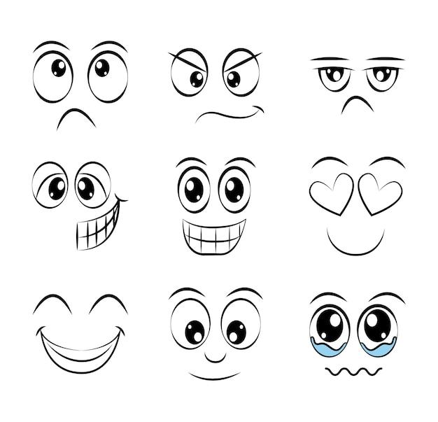 Fun expression facial design Premium Vector