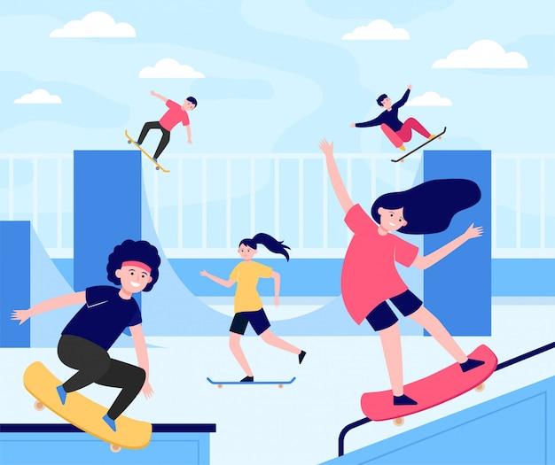 Divertimento estremo skateboard parco piatto illustrazione Vettore gratuito