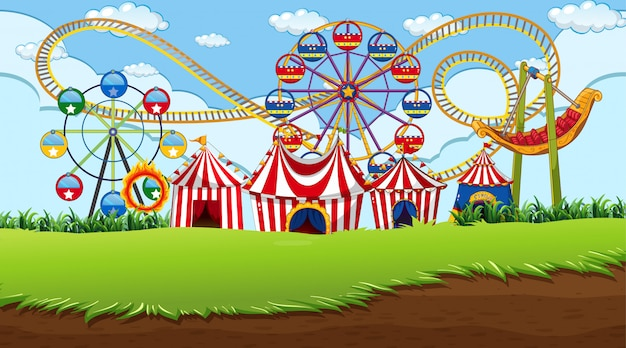 Fun fair background scene Free Vector
